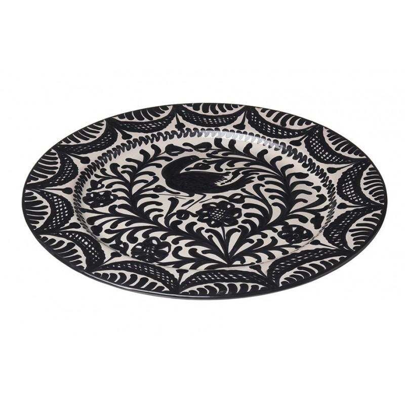 Assiette Ceramique Large Oiseaux Noir Et Blanc