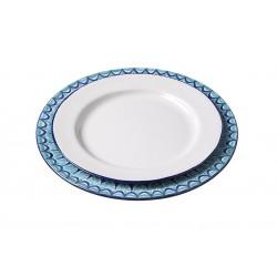 Assiette Céramique Large Oiseau Bleu/vert