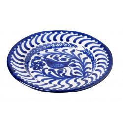 Assiette Ceramique Medium  Oiseaux Bleu Et Blanc