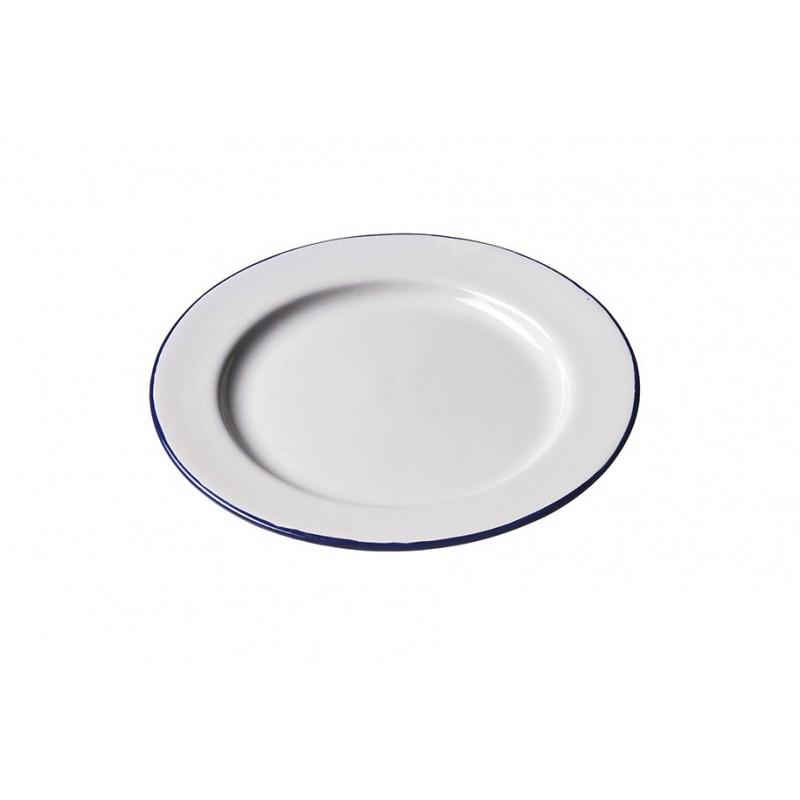Assiette Ceramique  Ecru Bord Bleu