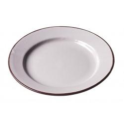 Assiette Ceramique Medium Ecru Bord Marron