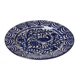 Assiette Ceramique Large  Oiseaux Bleu Et Blanc