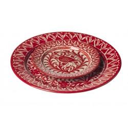 Assiette Ceramique Large  Oiseaux Rouges