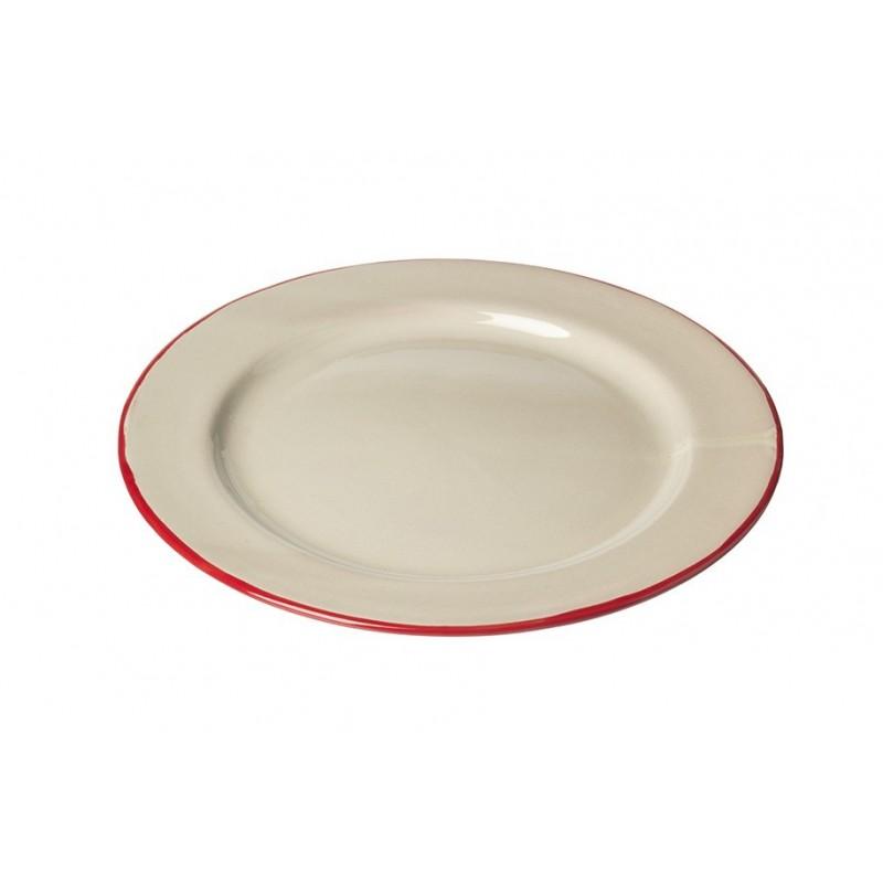 Assiette Ceramique Medium Ecru.rouge