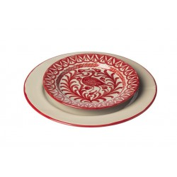 Assiette Ceramique Medium Ecru.rouge
