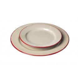 Assiette Ceramique Petite Ecru Bord Rouge