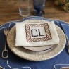 Embroidered Napkin in white linen