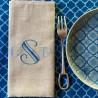 Beige linen embroidered Napkin