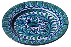 Assiette Céramique Medium Oiseau Bleu/vert