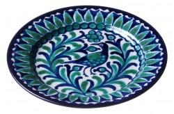 Assiette Céramique Petite Oiseau Bleu/vert