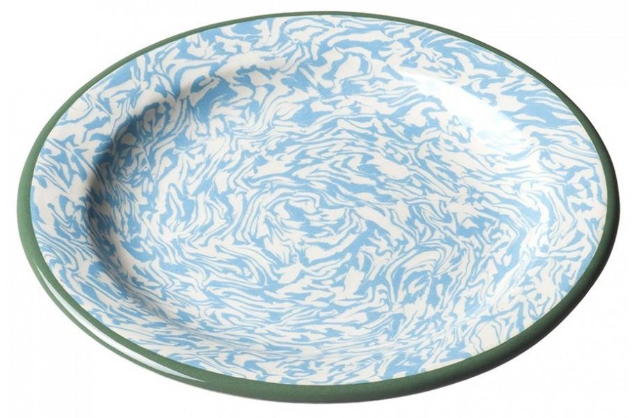 Assiette Pain Terre Melee Ecru Bleu 15