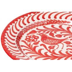 Assiette Ceramique Petite Oiseau Ecru/rouge